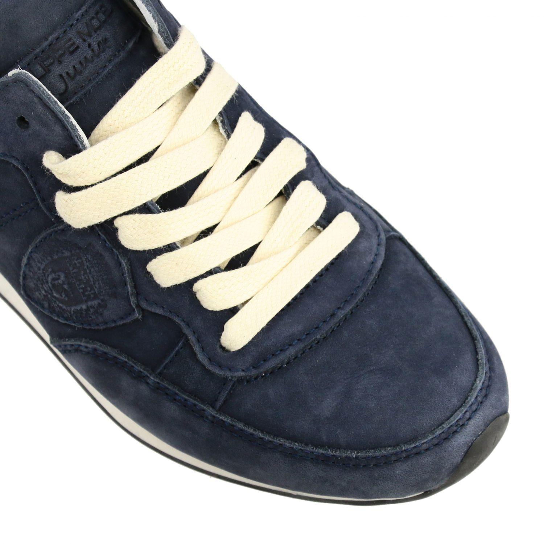 Sneakers Tropez Philippe Model stringata in nabuk blue navy 4