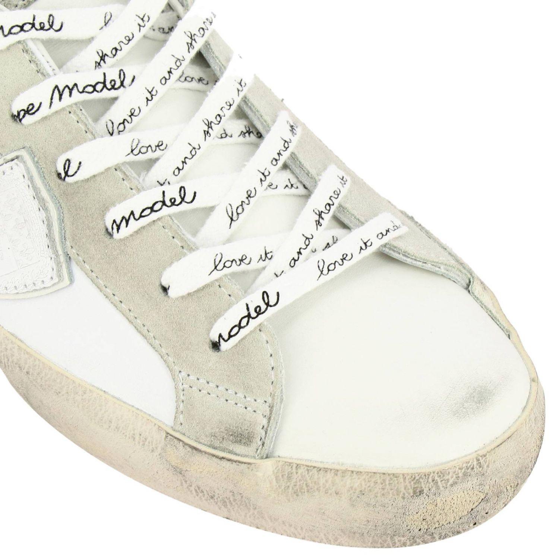 Кроссовки Paris из гладкой кожи и замши с ламинированной вставкой на пятке белый 3