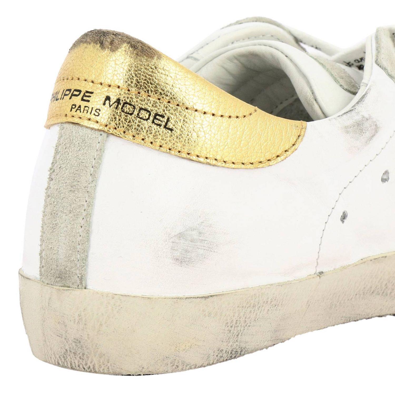 Кроссовки Paris из гладкой кожи и замши с ламинированной вставкой на пятке белый 4