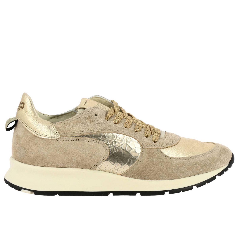 Sneakers Montecarlo Philippe Model stringata in camoscio e pelle laminata beige 1