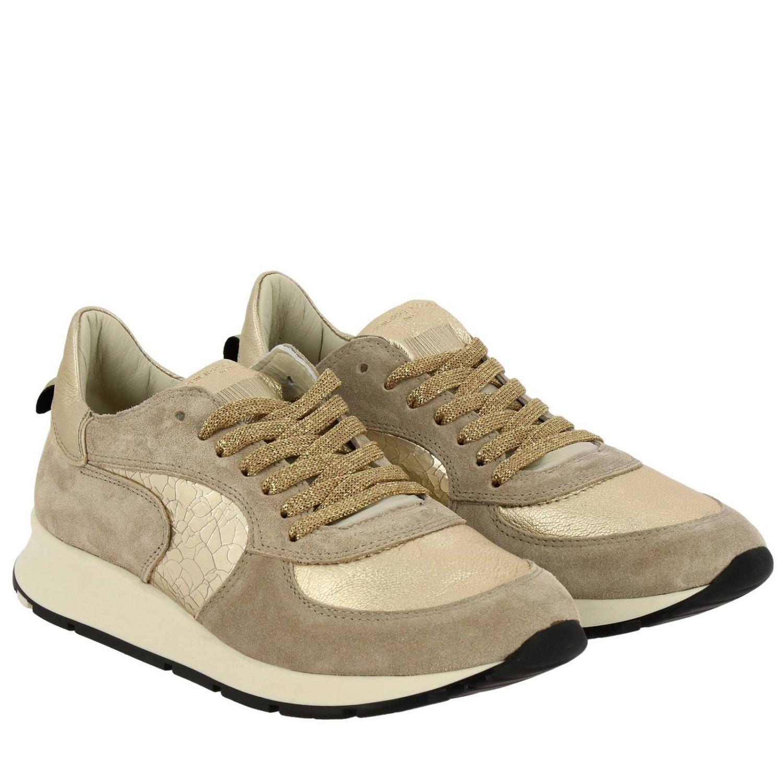 Sneakers Montecarlo Philippe Model stringata in camoscio e pelle laminata beige 2