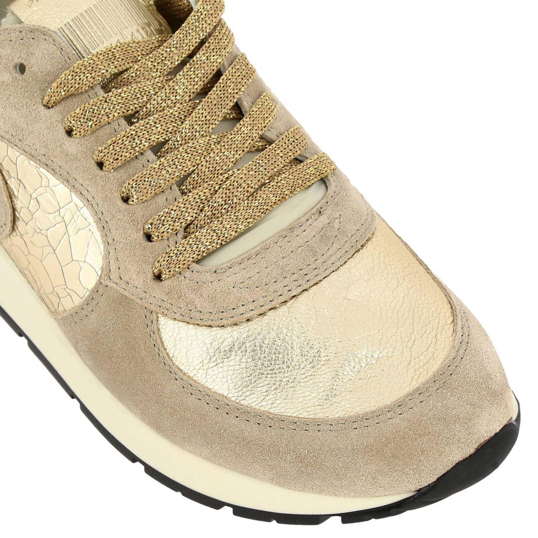 Sneakers Montecarlo Philippe Model stringata in camoscio e pelle laminata beige 3