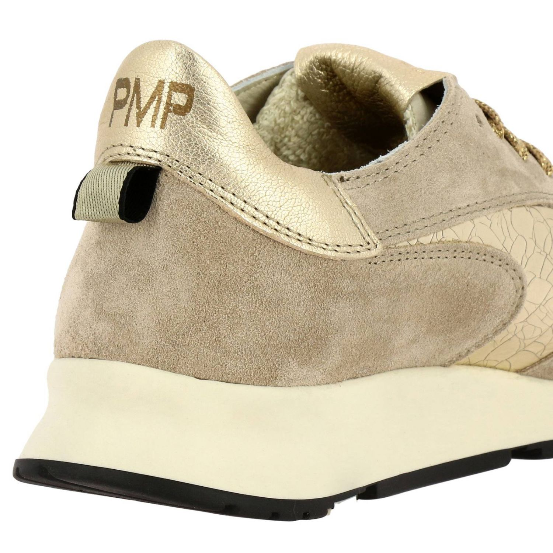 Sneakers Montecarlo Philippe Model stringata in camoscio e pelle laminata beige 4