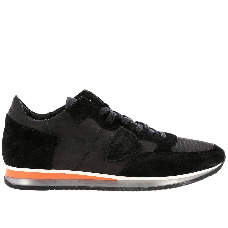 Sneakers Tropez Philippe Model stringata in pelle e camoscio con dettagli a contrasto nero 1
