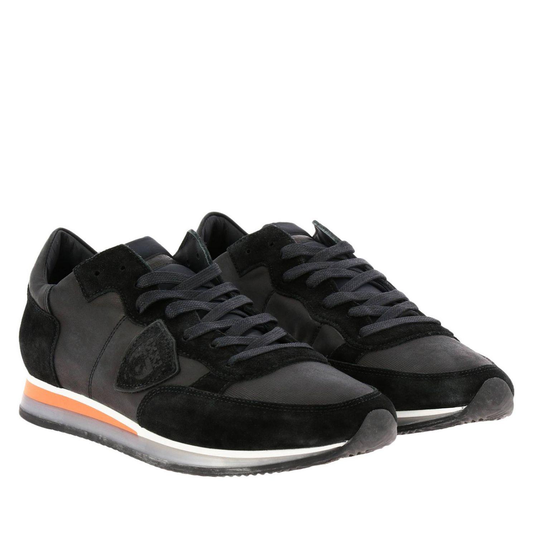 Sneakers Tropez Philippe Model stringata in pelle e camoscio con dettagli a contrasto nero 2