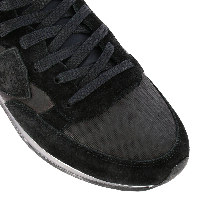 Sneakers Tropez Philippe Model stringata in pelle e camoscio con dettagli a contrasto nero 3