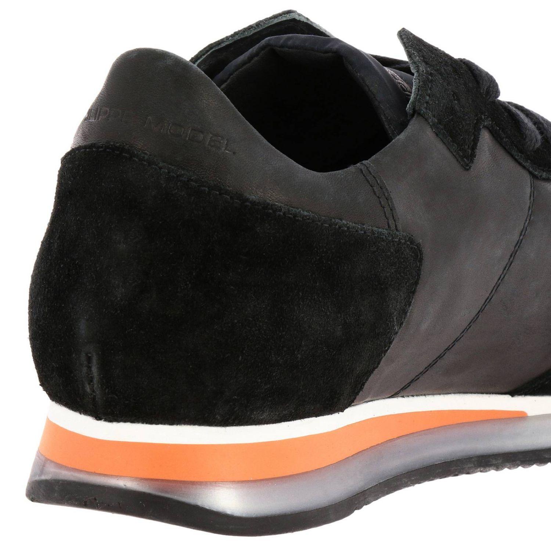 Sneakers Tropez Philippe Model stringata in pelle e camoscio con dettagli a contrasto nero 4