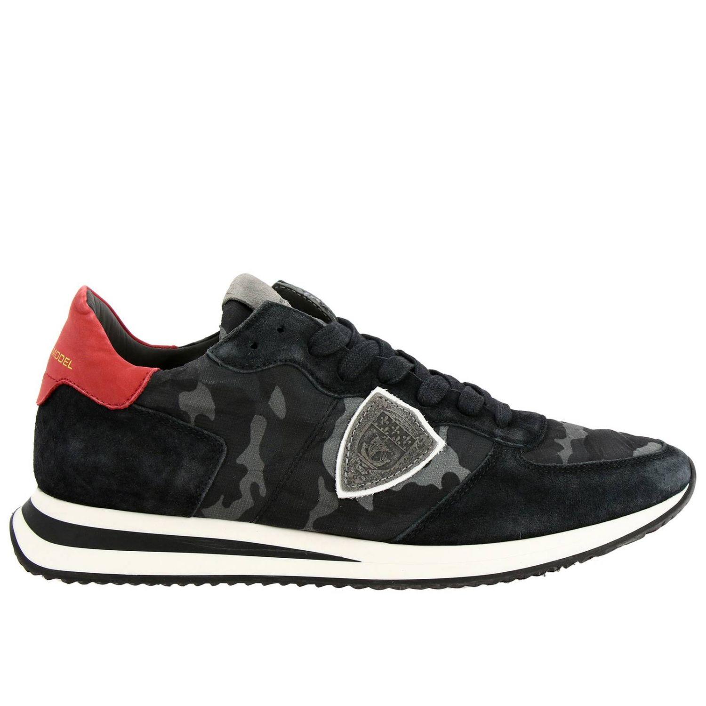 Спортивная обувь Philippe Model: Кроссовки Tropez X Philippe Model из нейлона и замши с контрастными деталями темно-серый 1