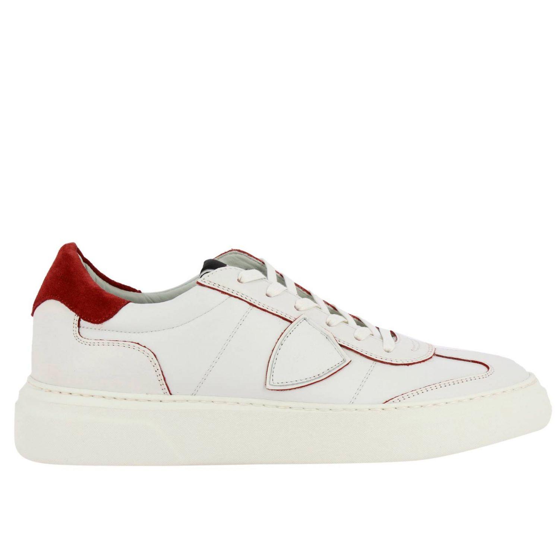 Sneakers Temple Philippe Model stringata in pelle liscia bianco 1
