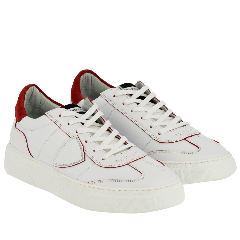 Sneakers Temple Philippe Model stringata in pelle liscia bianco 2