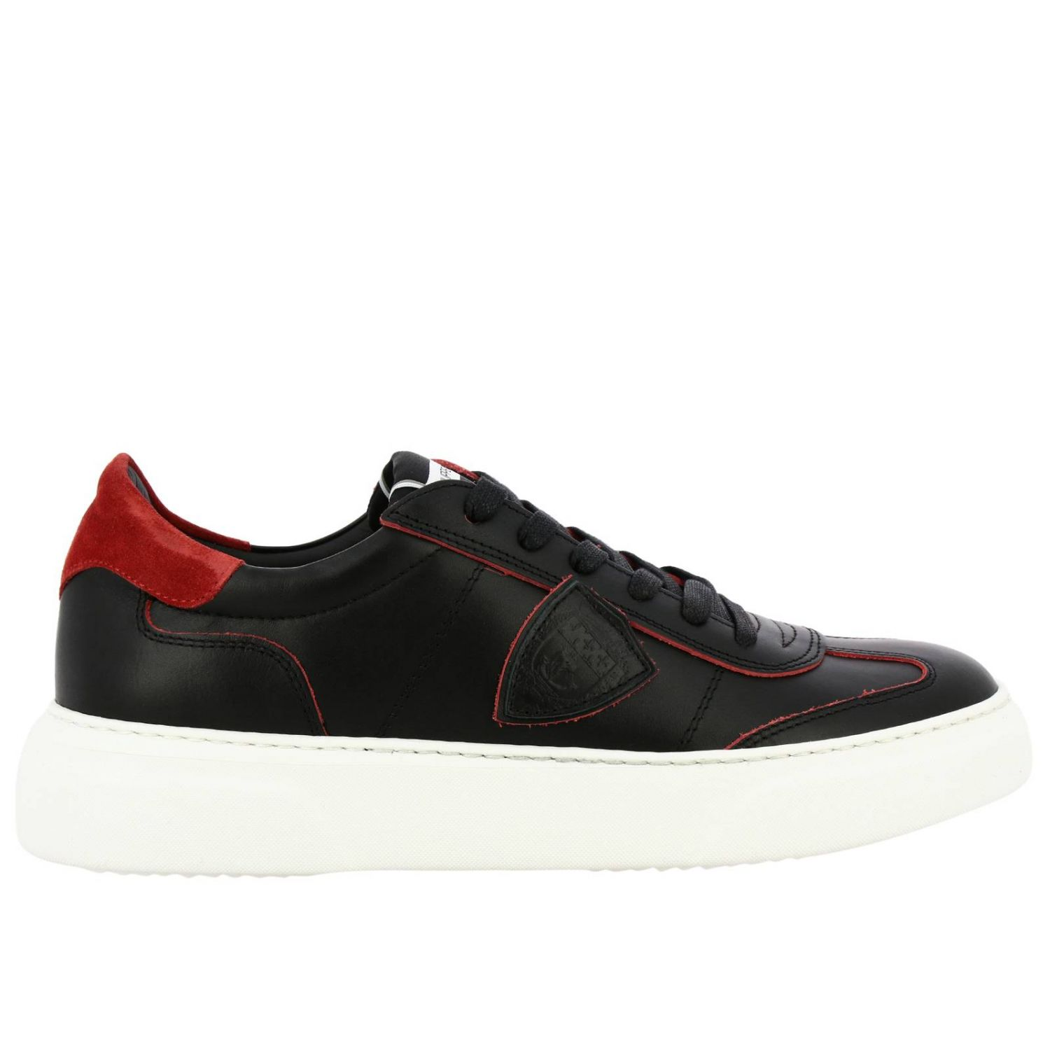 Sneakers Temple Philippe Model stringata in pelle liscia nero 1