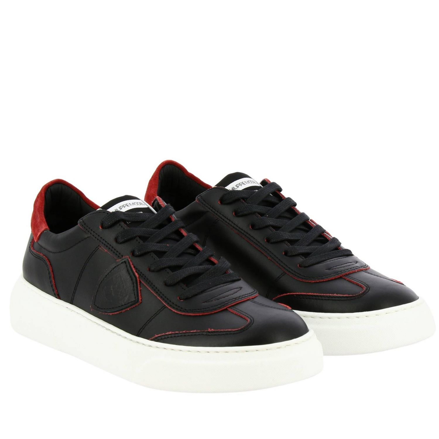 Sneakers Temple Philippe Model stringata in pelle liscia nero 2