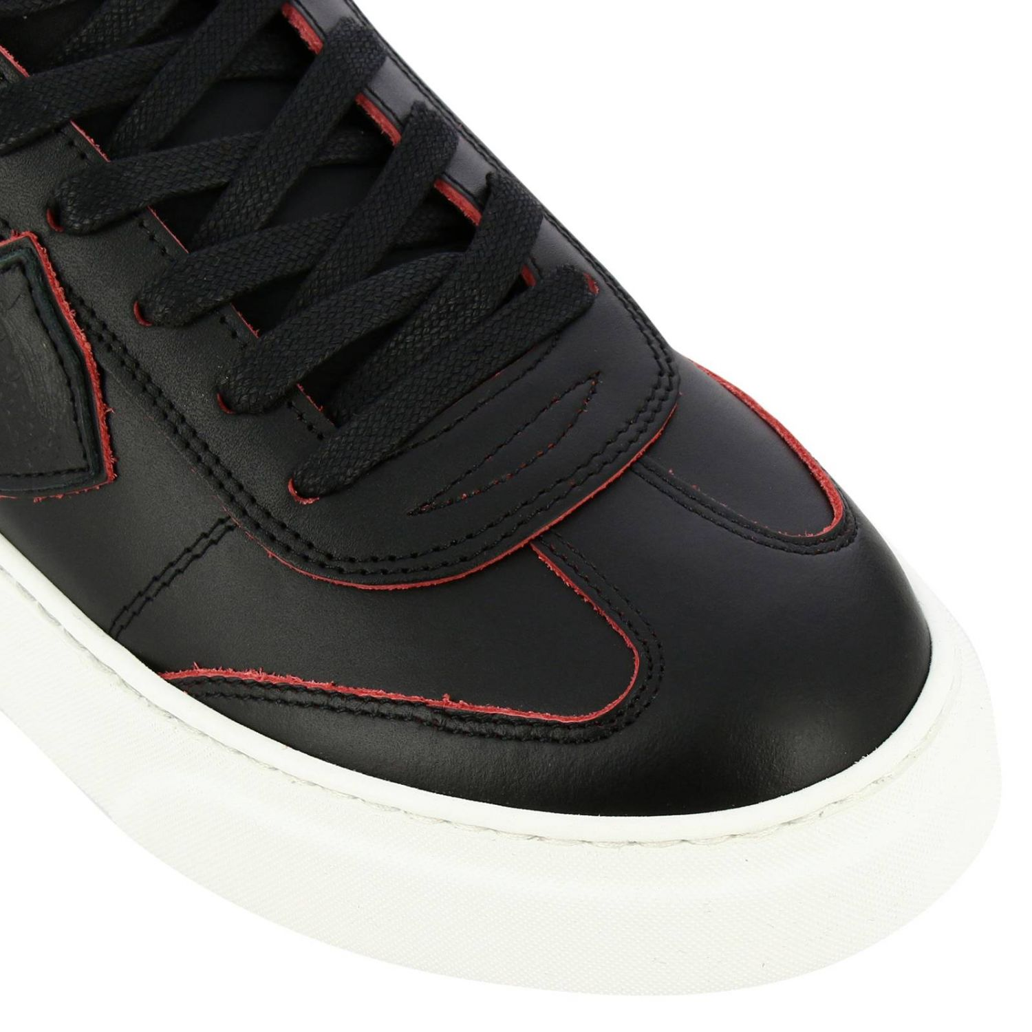 Sneakers Temple Philippe Model stringata in pelle liscia nero 3