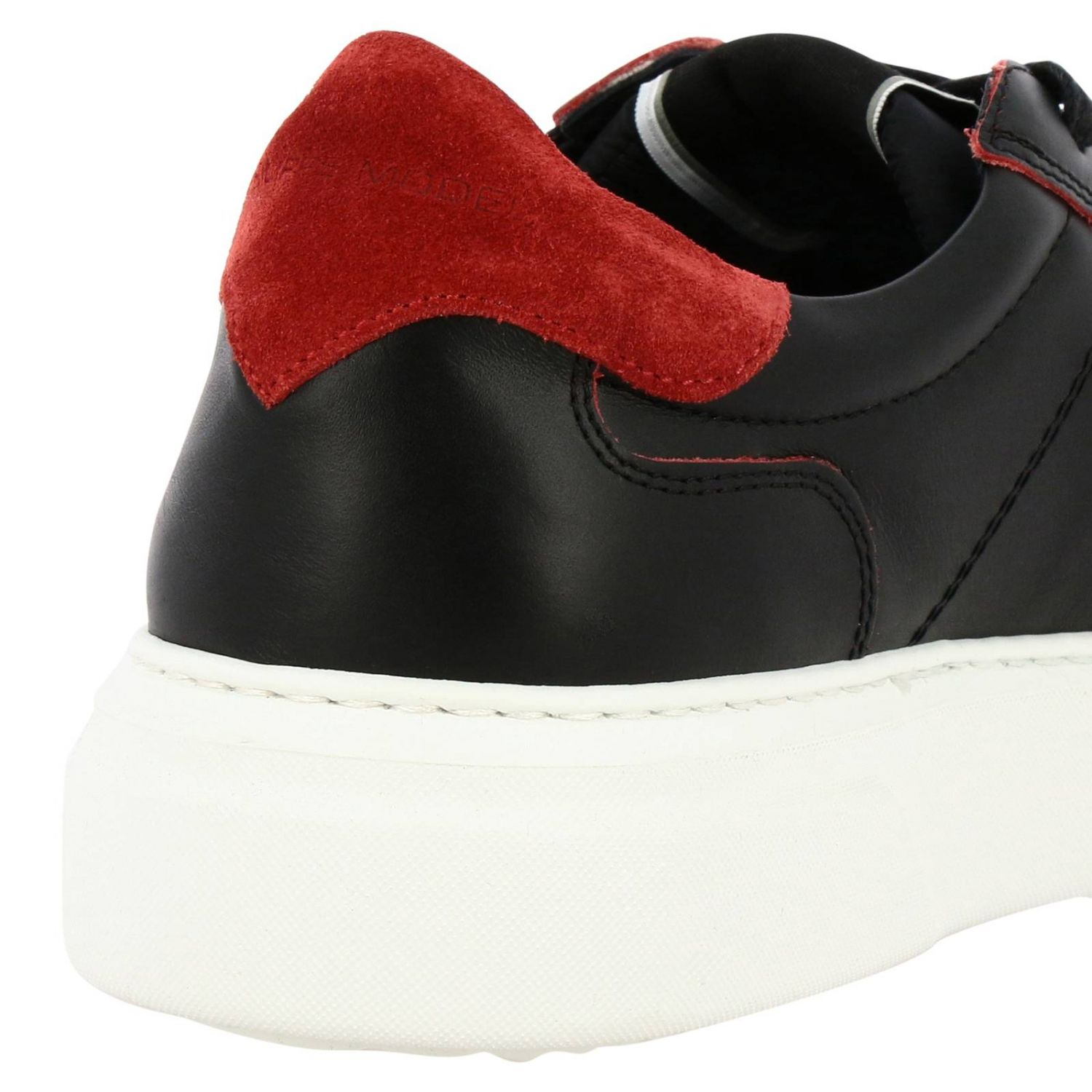 Sneakers Temple Philippe Model stringata in pelle liscia nero 4