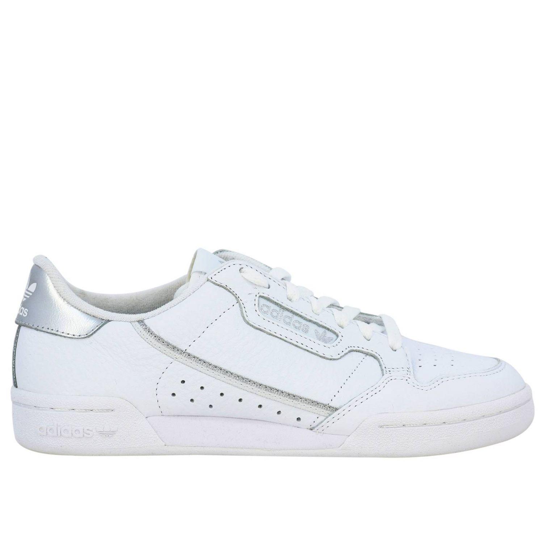 Спортивная обувь Adidas Originals: Кроссовки Continental 80s Adidas Originals из кожи с контрастными деталями белый 1