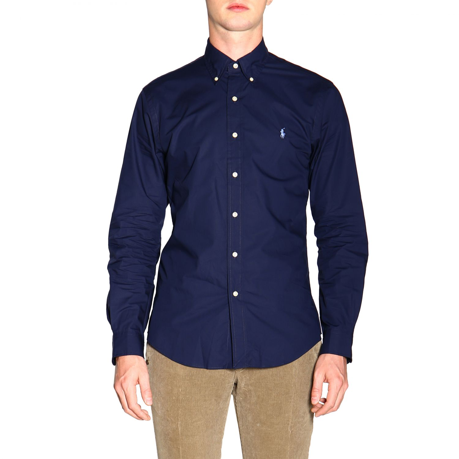 Natural stretch custom fit shirt with button down collar and Polo Ralph Lauren logo blue 1