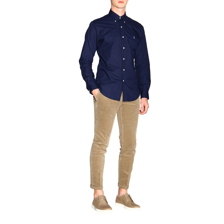 Polo Ralph Lauren logo印花纽扣领自然弹性修身衬衫 蓝色 2