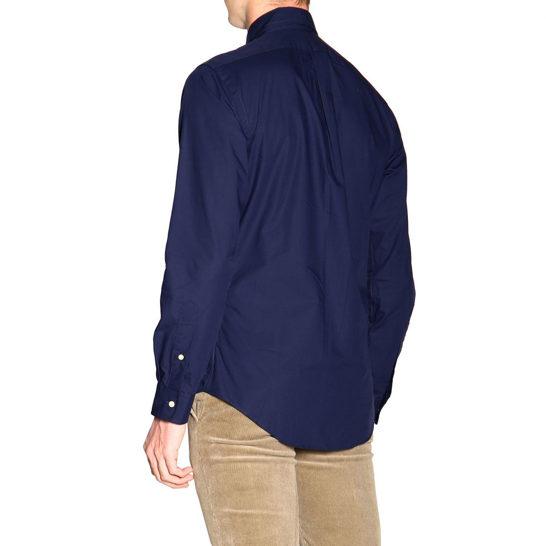 Polo Ralph Lauren logo印花纽扣领自然弹性修身衬衫 蓝色 3