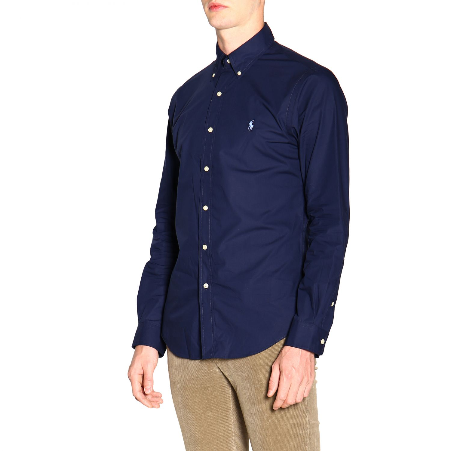 Camicia custom fit natural stretch con collo button down e logo Polo Ralph Lauren blue 4