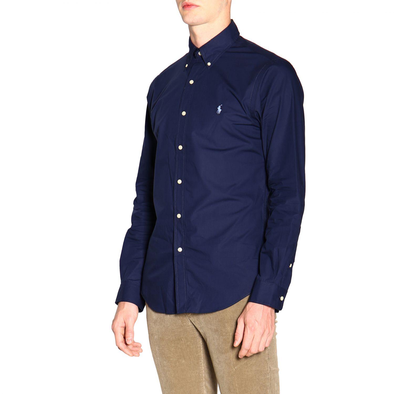 Polo Ralph Lauren logo印花纽扣领自然弹性修身衬衫 蓝色 4