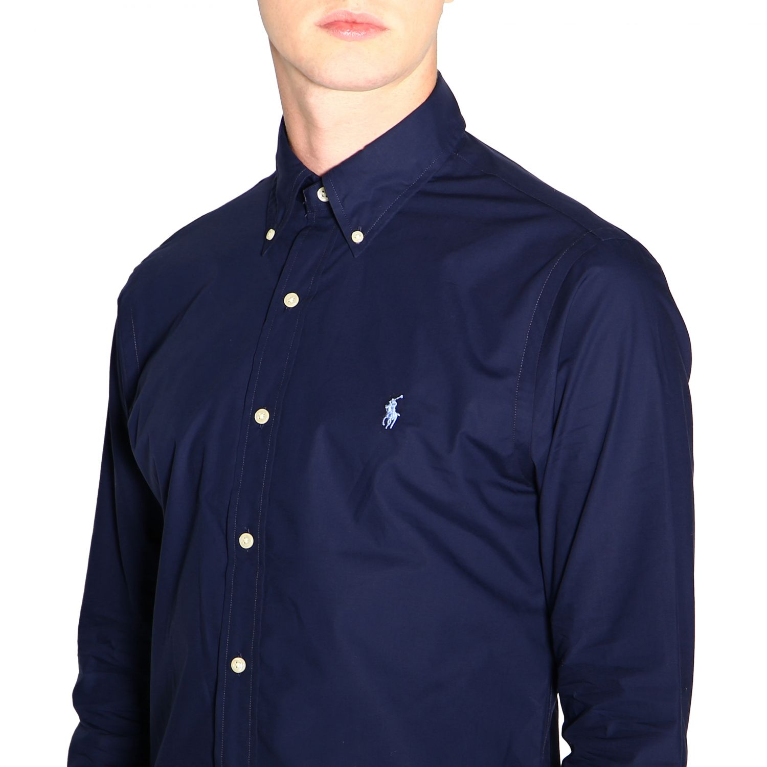 Camicia custom fit natural stretch con collo button down e logo Polo Ralph Lauren blue 5
