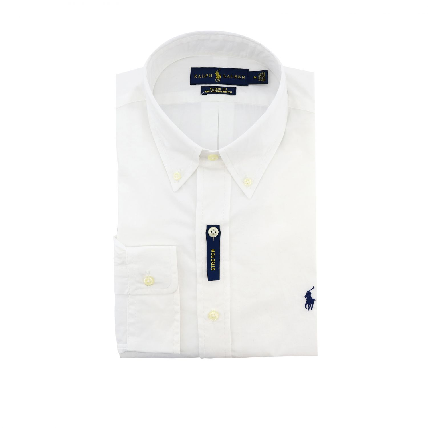 Slim-fit natural stretch shirt with button-down collar and Polo Ralph Lauren logo white 1