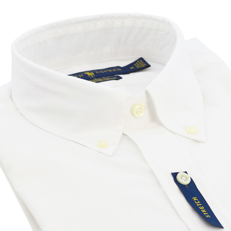 Polo Ralph Lauren logo印花纽扣领自然弹性修身衬衫 白色 2