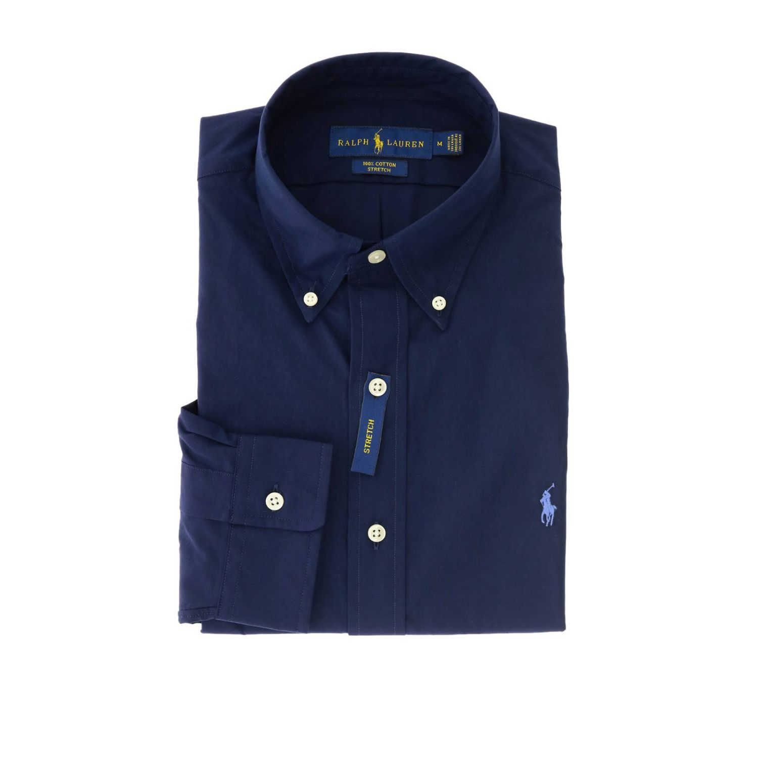 Camisa slim fit natural stretch con cuello abotonado y logo de Polo Ralph Lauren azul oscuro 1
