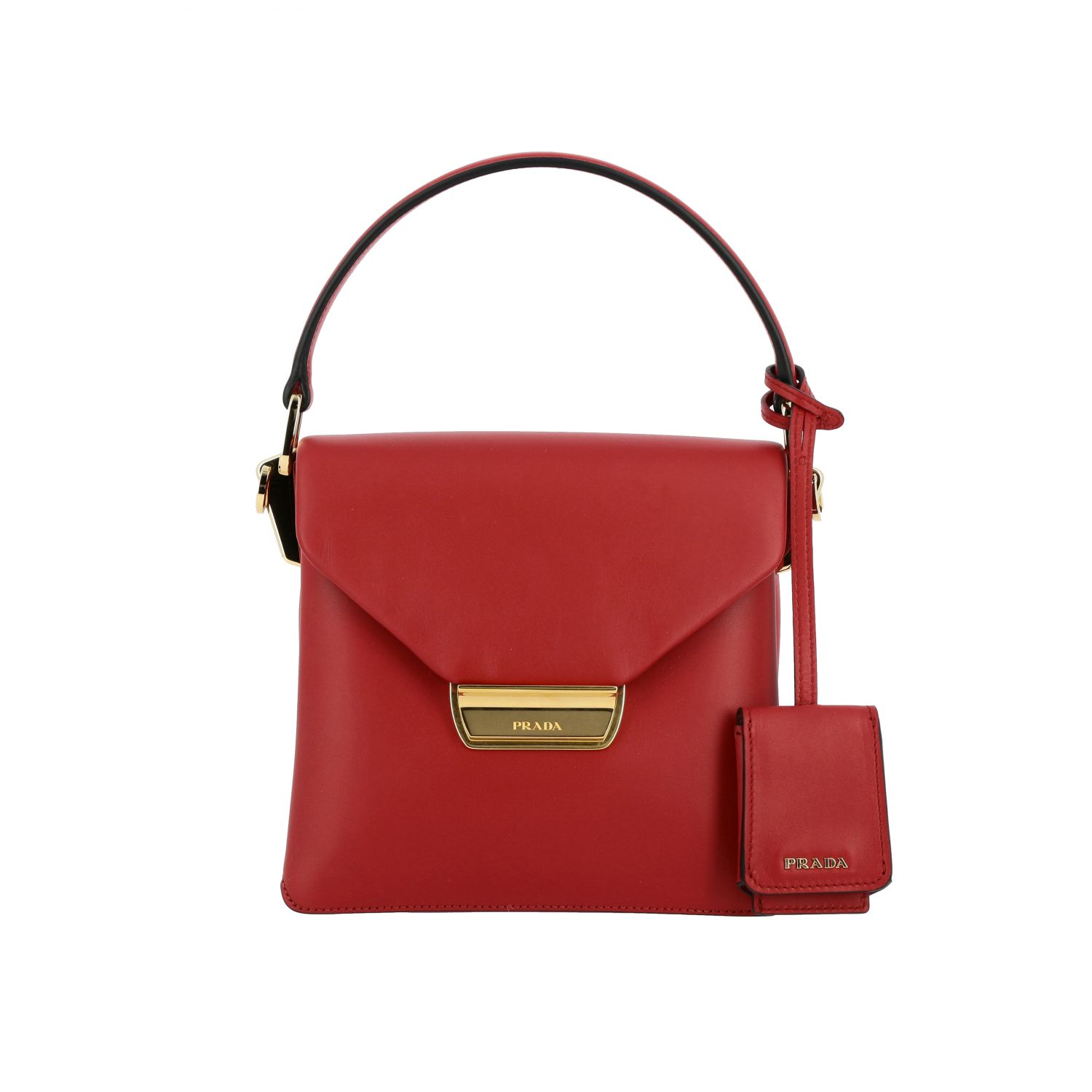 Prada bag in smooth leather with handle red 1