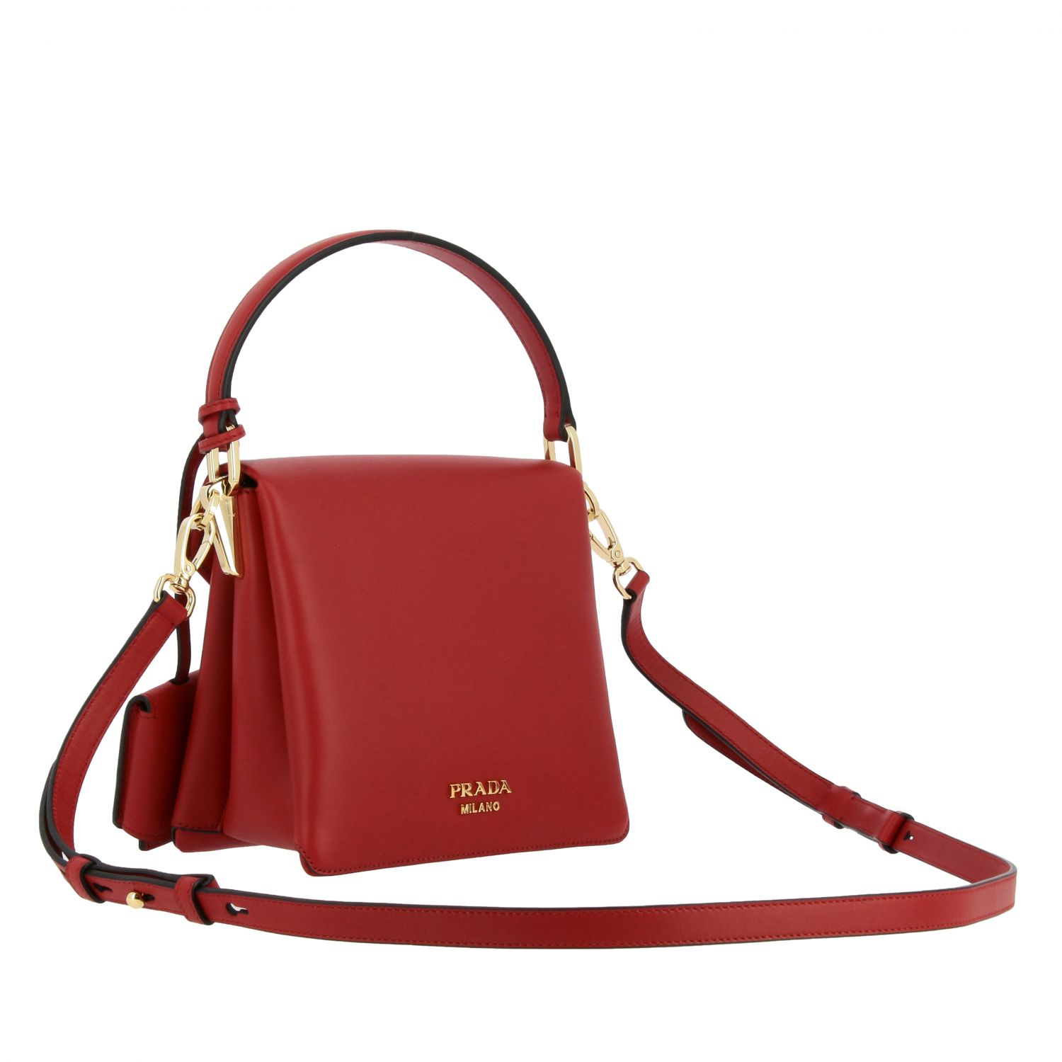 Prada bag in smooth leather with handle red 3