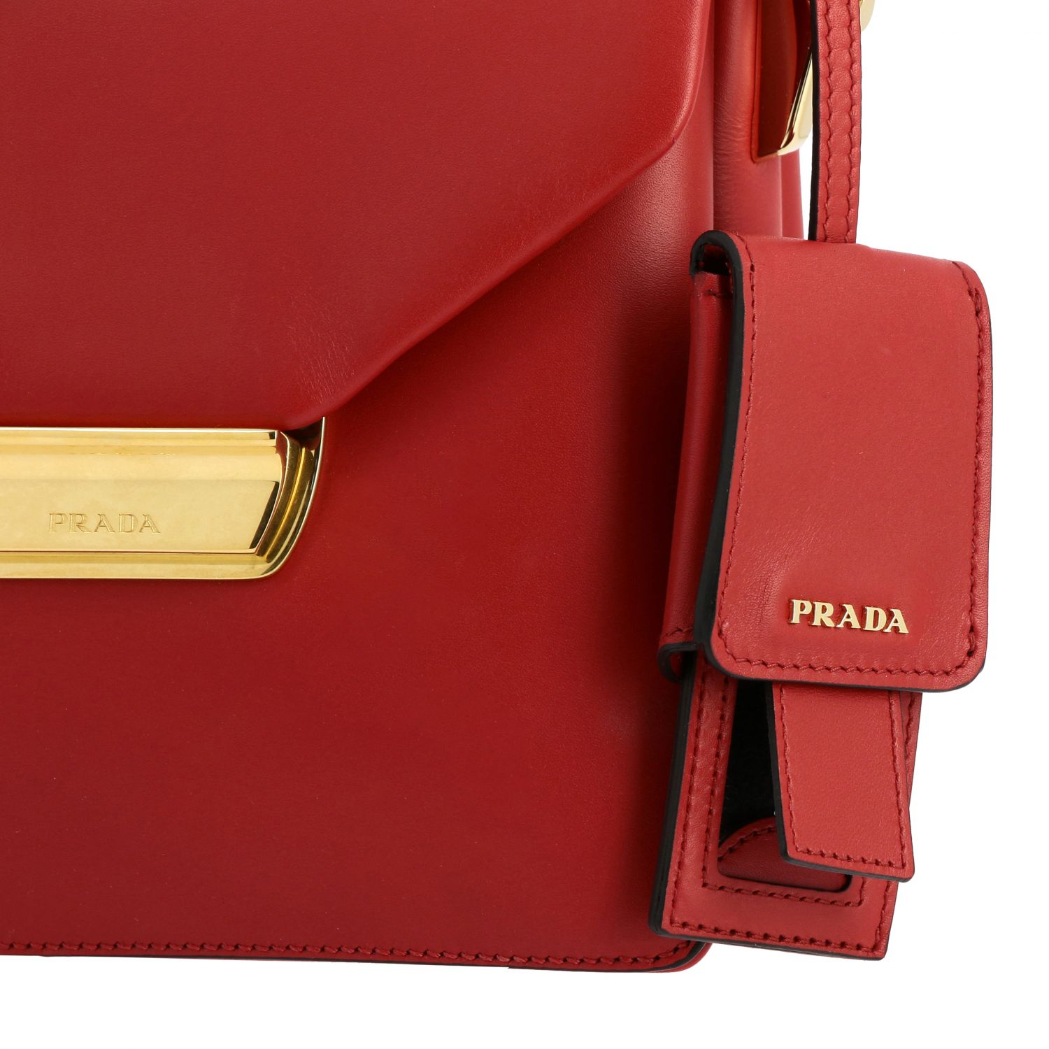 Prada bag in smooth leather with handle red 4