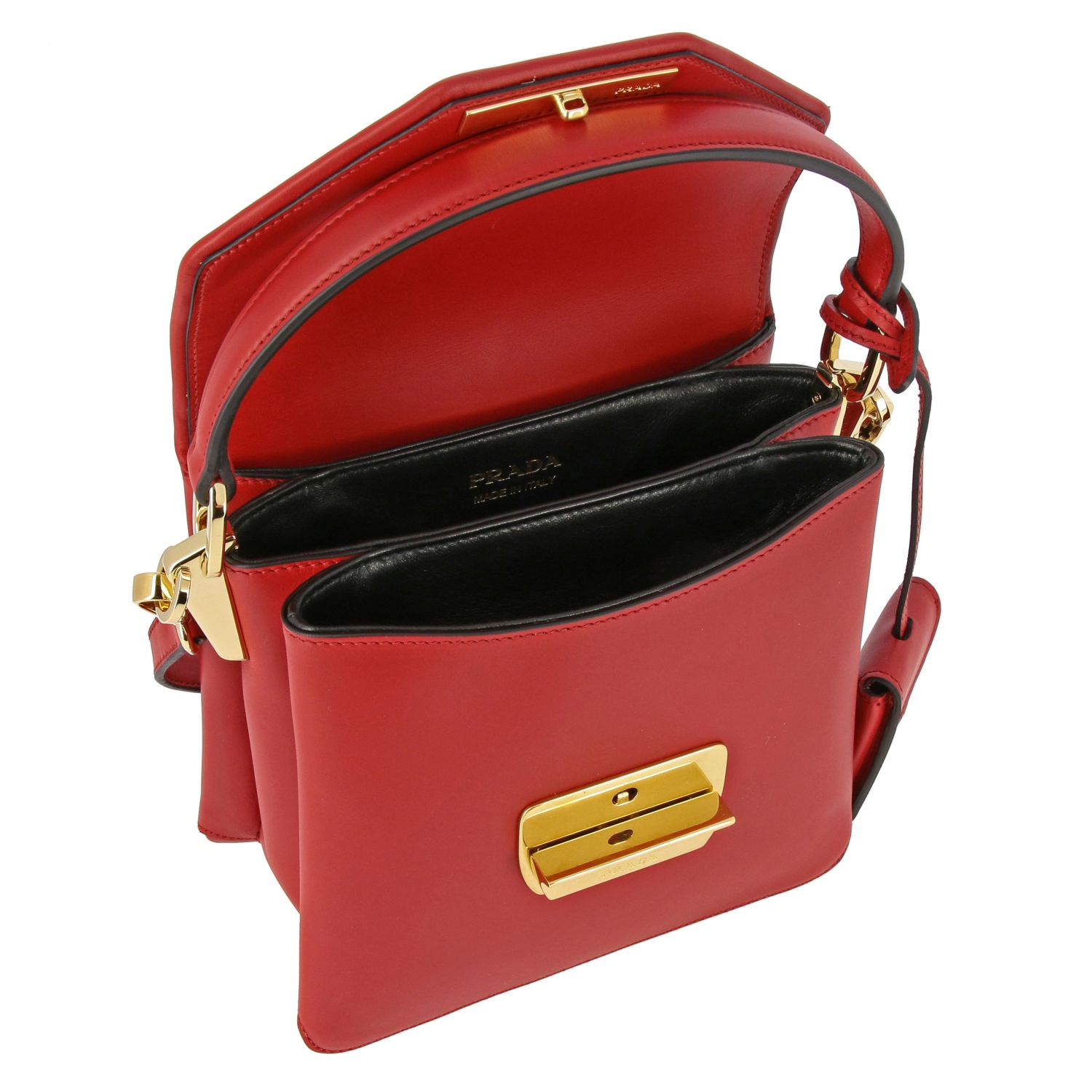 Prada bag in smooth leather with handle red 5