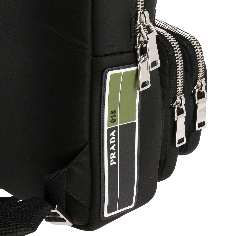 Zaino Prada in nylon full zip con logo in gomma nero 5