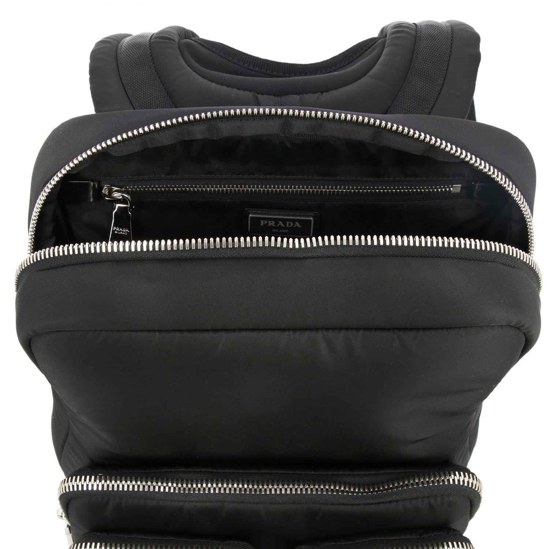 Zaino Prada in nylon full zip con logo in gomma nero 6