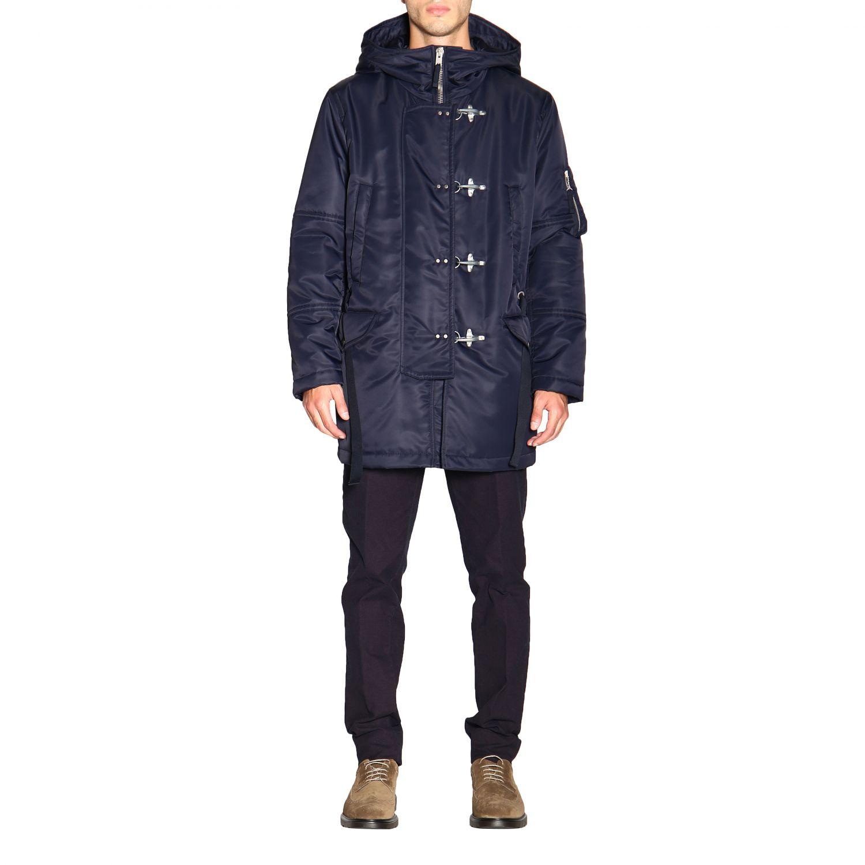 Manteau Fay en nylon avec brandebourgs et maxi capuche bleu 1