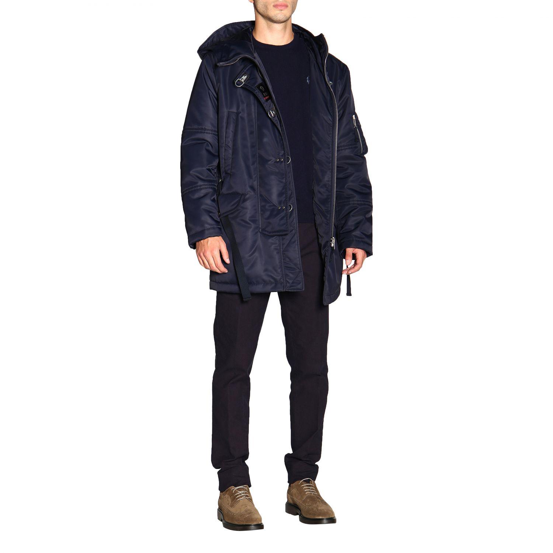 Manteau Fay en nylon avec brandebourgs et maxi capuche bleu 2