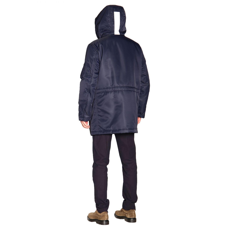 Manteau Fay en nylon avec brandebourgs et maxi capuche bleu 3