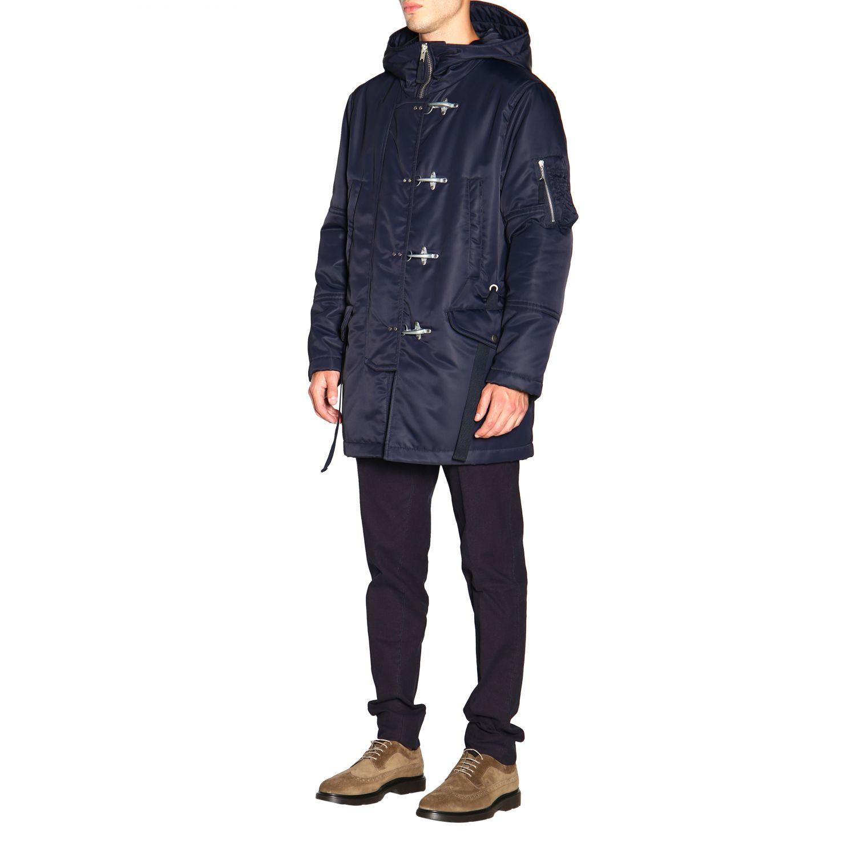 Manteau Fay en nylon avec brandebourgs et maxi capuche bleu 4