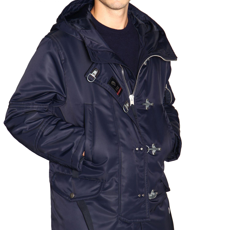 Manteau Fay en nylon avec brandebourgs et maxi capuche bleu 5