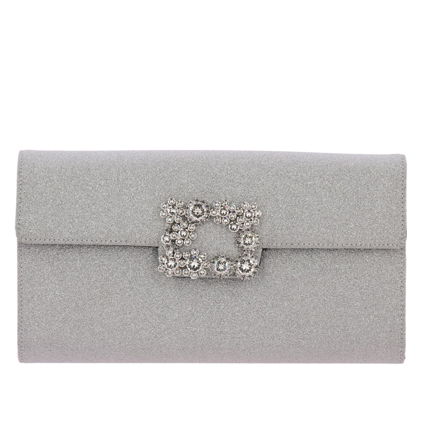 Roger Vivier Envelope Flap Flower Buckle 水钻扣亮片面料手包 银色 1