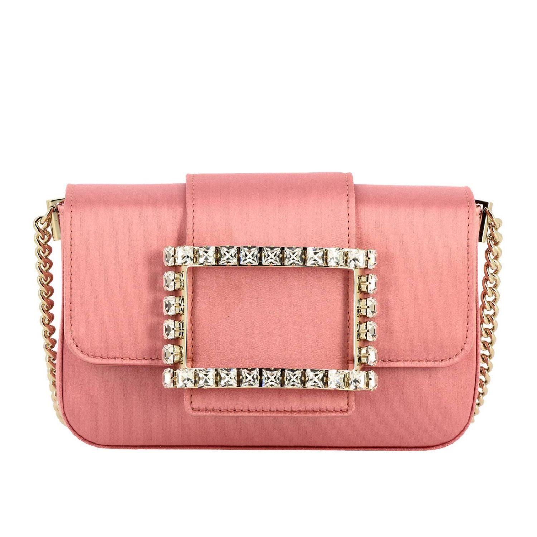 Très Roger Vivier Minitasche aus Satin mit großer Strassschnalle pink 1