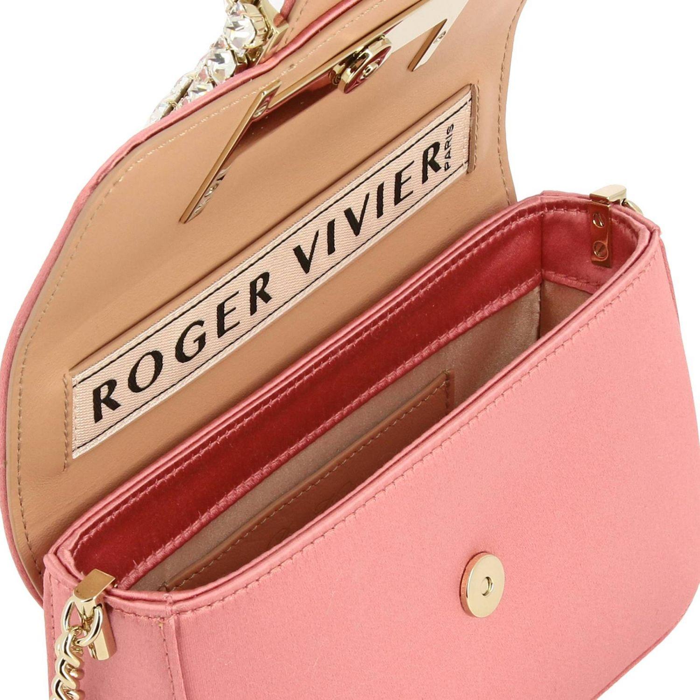 Très Roger Vivier Minitasche aus Satin mit großer Strassschnalle pink 5