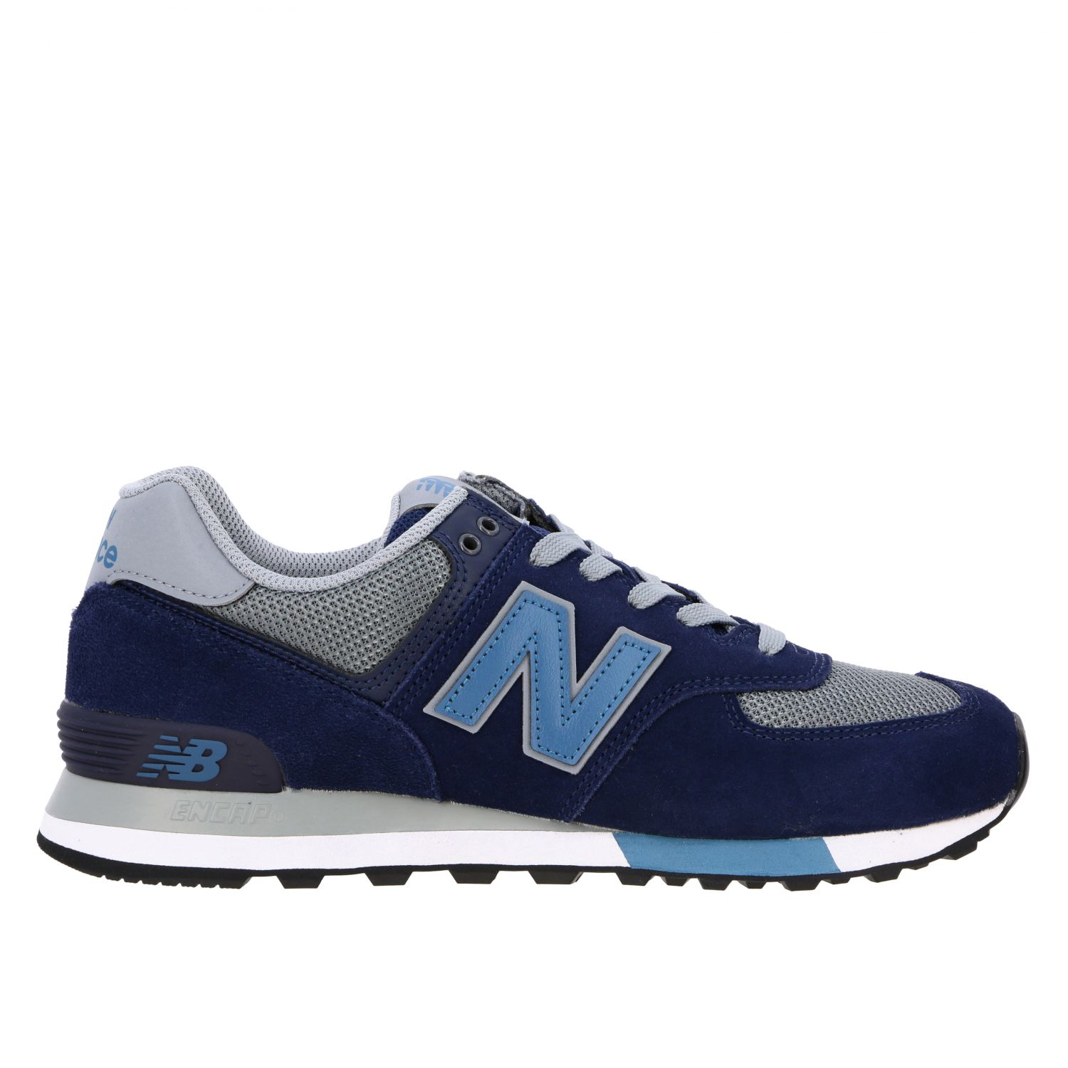 Baskets 574 New Balance en daim et filet contrastés bleu 1