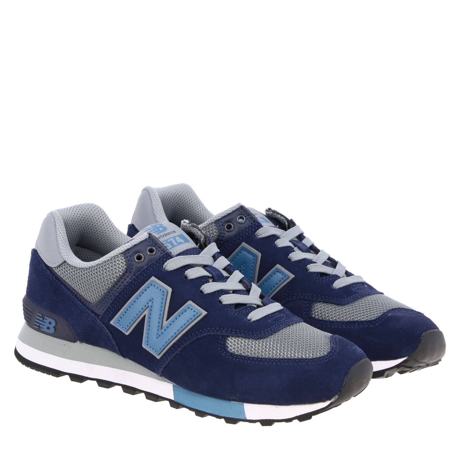 Baskets 574 New Balance en daim et filet contrastés bleu 2