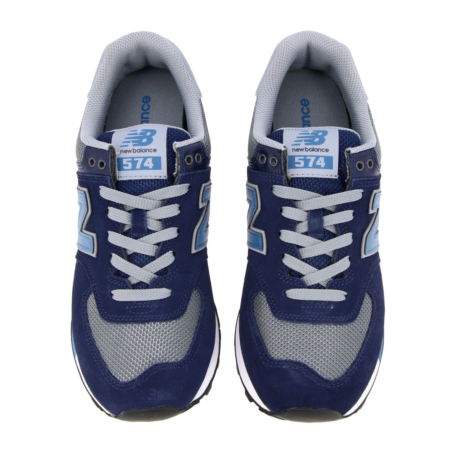 Baskets 574 New Balance en daim et filet contrastés bleu 3