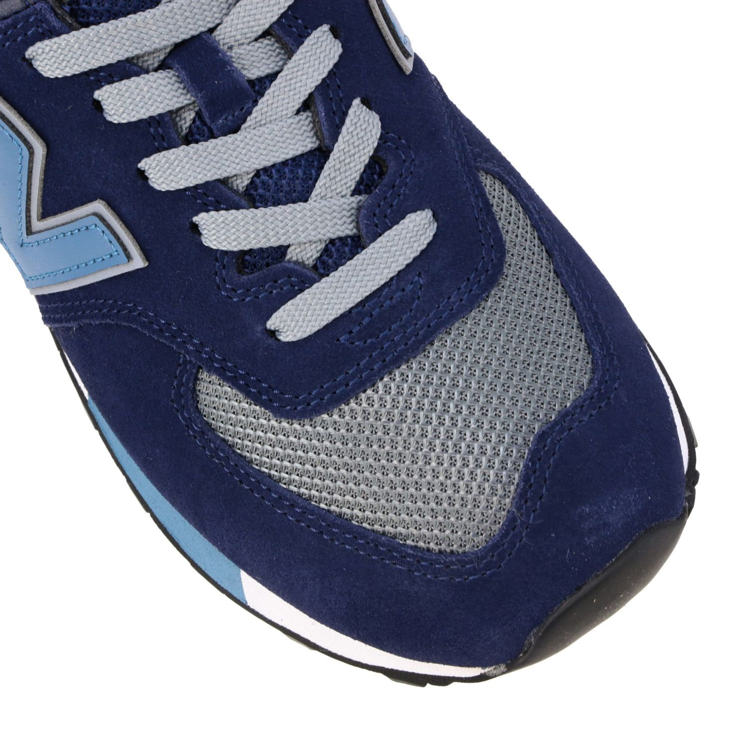 Baskets 574 New Balance en daim et filet contrastés bleu 4