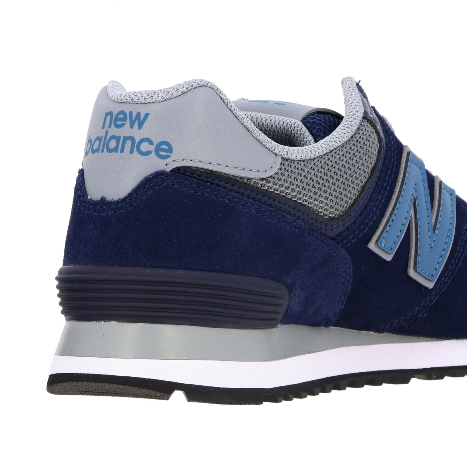 Baskets 574 New Balance en daim et filet contrastés bleu 5