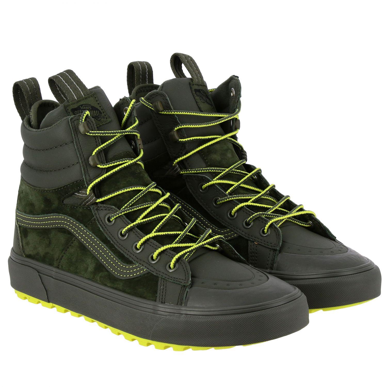 运动鞋 Vans: Vans Mte 360 sk8-hi 帆布绒面革荧光细节高帮运动鞋 军绿色 2