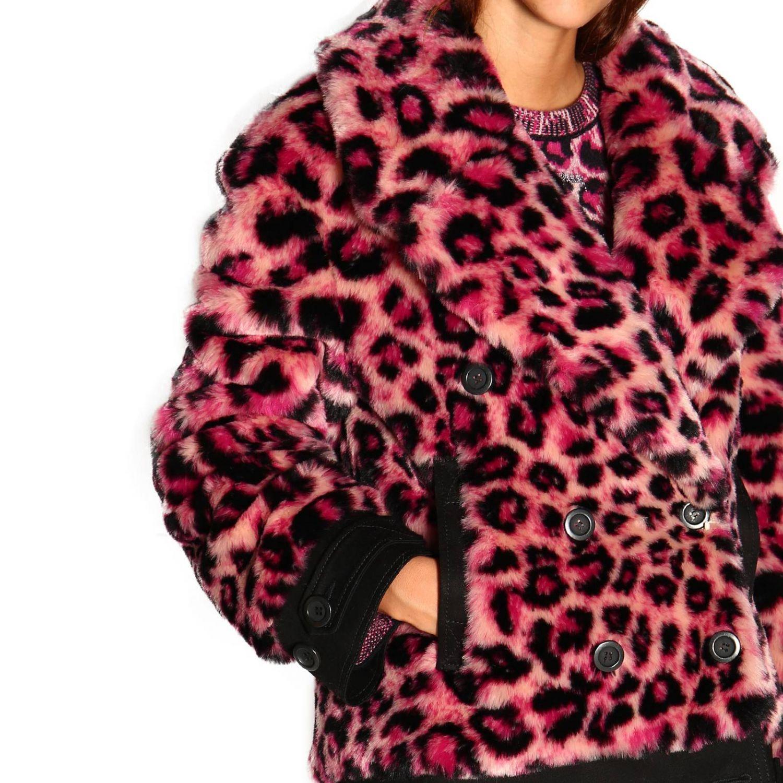 Abrigos de piel real Alberta Ferretti: Abrigo de pieles Alberta Ferretti con estampado animalier y lince fucsia 5