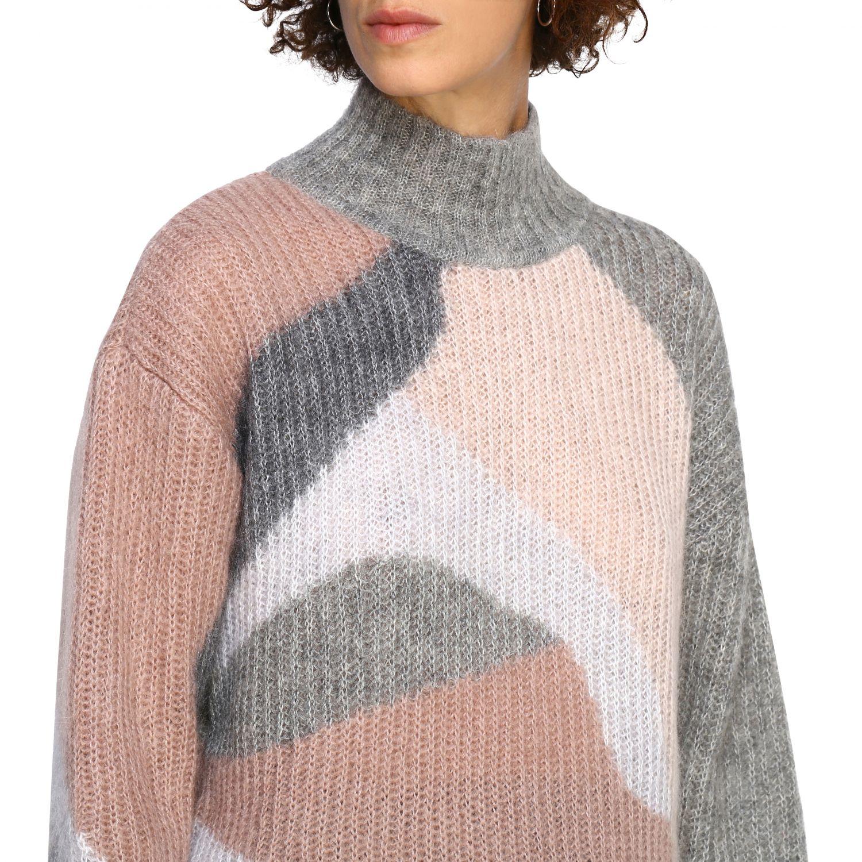 Maglia Alberta Ferretti: Pullover Alberta Ferretti in lana mohair a collo alto grigio 5